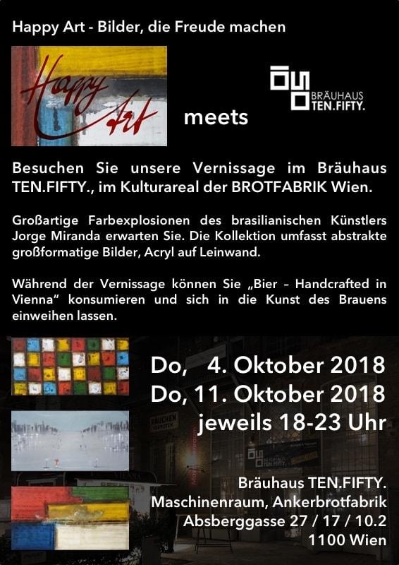 Einladung zur Vernissage: Happy Art meets Bräuhaus Ten.Fifty.